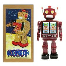 "TIN TOY ELECTRON ROBOT 12"" Burgundy with Silver Doors ME100 Battery Operated NEW"
