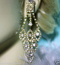 Chandelier Earrings Rhinestone Austrian Crystal Bridal Pageant 3.5 inch GoldTone