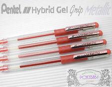 12pcs Pentel Hybrid Gel Grip K118 Medium Roller Ball Pen, Metallic RED