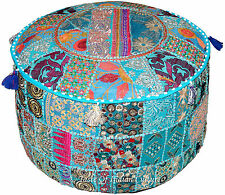 """22"""" Turquoise Blue Embroidered Round Ottoman Pouf Stool Chair Pouffe Indian Seat"""