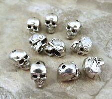 10 Pewter Beads - 12mm SKULL with 1.4mm Vertical Hole - 5095