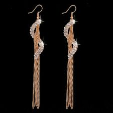 18K ROSE GOLD PLATED  CLEAR AUSTRIAN CRYSTAL LONG DANGLE TASSLE EARRINGS
