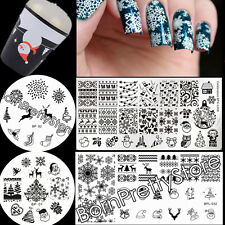 7Pcs/set BORN PRETTY Christmas Nail Art Stamp Plate Starry Stamper W/2 Scrapers