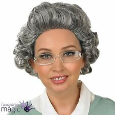 Grey Curly Gran Granny Old Lady Woman Wig and Glasses Teacher Ladies Fancy Dress