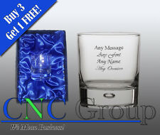 Personalised Engraved Bubble Whiskey Tumbler Glass Satin Gift Box Birthyday