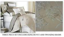 Charisma FLORENE Embroidered Floral Beige tan KING DUVET & 2 SHAMS Set $550 NEW