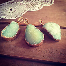 Large Light Green Druzy Agate Gemstone Pendant Charm