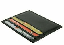 BLACK MEN's LEATHER THIN SLIM Wallet Holder Money Credit Card ID Slots 214 NWT