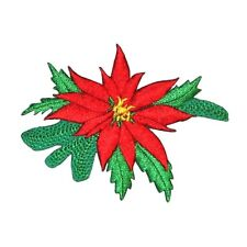 ID 8192B Poinsettia Flower Christmas Holiday Embroidered Iron On Applique Patch