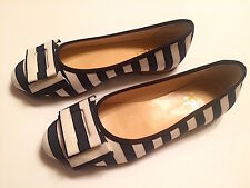 NEW BROOKS BROTHERS BLACK FLEECE THOM BROWNE NAVY STRIPE FLAT SHOES SZ 8.5