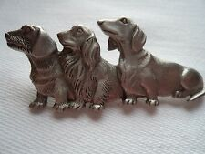 "Vintage Signed JJ  ""Silver pewter Trio of Dachshunds"" Brooch/Pin"