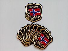 "10 NORWAY Flag in shield Embroidered Patches 3.25""x2.75"""