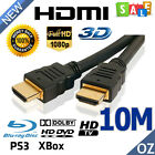 10M HD HDMI Cable v1.4 1080p Sky 3D PS3 LCD Video Gold Plated High Speed Lead