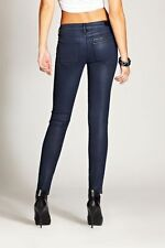 New GUESS blue Moto Zip Skinny Jeans in Navy Foil size 24