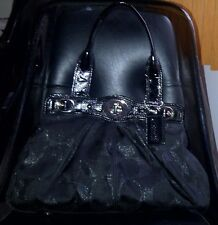 Auth COACH GARNET SIGNATURE LUREX/METALLIC SATCHEL TOTE PURSE 13916 BLACK - RARE