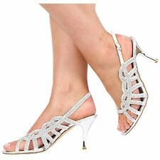 NEW WOMEN LADIES PROM WEDDING BRIDAL MID HEEL DIAMANTE SANDALS SHOES SIZE 3-8