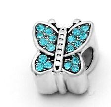 Cristal azul mariposa encanto Grano para Pulsera o Collar