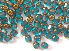20 AQUA MARINE faceted lantern Czech glass beads - 6mm