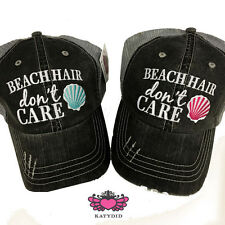 BASEBALL CAP- TRUCKER CAP - BLACK & AQUA  BEACH  HAIR DON'T CARE  HAT -MESH HAT