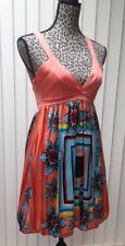 NEW BEBE Women's M Orange Knit Bodice Blue Multi Silk Sun Dress Mini Bubble Hem