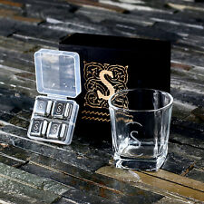 Personalized Glass and Whisky Stones Box Gift Set for Whisky Lovers