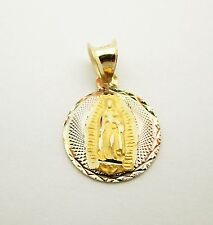 "10k Yellow Gold Tri Tone Virgin Mary Charm ""Our Lady of Guadalupe"" Pendant"