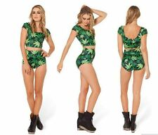 BNew Green Leaf 2pc High Waist Swimsuit/Swimwear Cropped Capped Sleeve