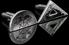 Top DRAFTING TOOL CUFFLINKS Student Protractor Triangle Architect Engineer Math.