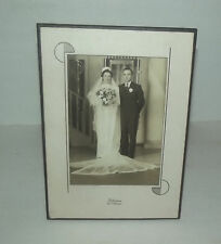 NEAT VINTAGE WEDDING PHOTO WITH ART DECO FRAME PFEFFERKORN FORT ATKINSON