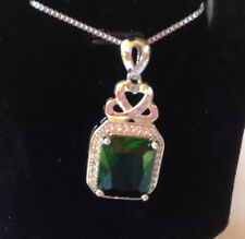 """18"""" Sterling Silver Green Jade Gemstone Micro Pave Crystal Pendant Necklace A25"""