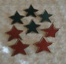8 Solid  Brass Star with Red & Green Enamel Napkin Rings