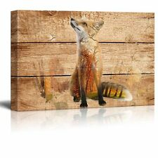 Canvas Wall Art - Fox in the Wild on Vintage Wood Background - 12x18 inches