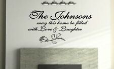 Personalized Custom Family Name Love & Laughter Wall Decal vinyl lettering quote