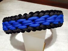 "Sanctified Chainmail Endless Falls Paracord BLK/GRY/BLUE Dog Collar 15""-22"""