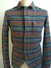 PRETTY GREEN Mens BLANKET STRIPE 3 Pocket Jacket WOOL Blend Size XS Extra Small