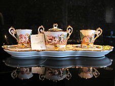 CAPODIMONTE TETE A TETE COFFEE SET 24k GOLD PLATED
