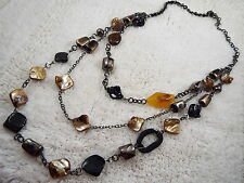 Gunmetal Brown Sea Shell Black Yellow Bead Multi Chain Scoop Necklace (B10)