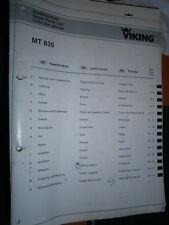 VIKING tracteur tondeuse MT835 MT 835 : catalogue de pièces 2001