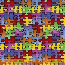 """Cotton Jigsaw Puzzle """"Autism Awareness"""" Cotton Fabric Print by the Yard D682.13"""