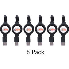 6 Pack ZipKord Retractable 3' USB 2.0 to USB Micro Charge & Sync Cable - Black
