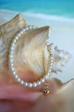 14K Yellow Gold & White Freshwater Pearl 6.5 to 8 Inch Bracelet with Heart Charm