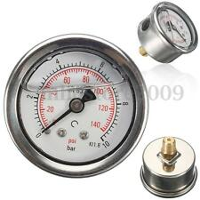 Universal 42mm Fuel Pressure Regulator Gauge Liquid Filled 0-140 PSI 0-10 Bar