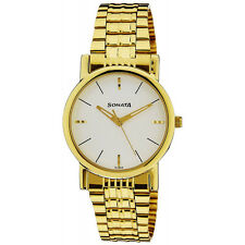 SONATA Classy Gold Plated Chain Watch for Mens NH7987YM05CJ