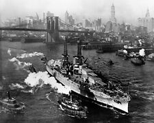 New 8x10 Navy Photo: USS ARIZONA on East River in New York City, Christmas 1916