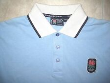 England English National Rugby Union Team Red Rose Blue Polo Knit Shirt SMALL S