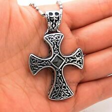 Men's Solid Celtic Black CZ Stainless Steel Cross Pendant Free Chain Necklace
