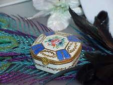 LIMOGES FRANCE Porcelaine De Paris VANITY Cobalt Floral Gilded TRINKET BOX Vintg