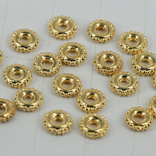 100pcs gold tone round crafted spacer beads in 6mm wide H0144