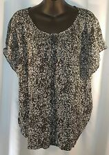 CHRISTOPHER & BANKS ~ SZ LARGE BLACK WHITE FLORAL FLOWING STRETCH BLOUSE TOP NWT