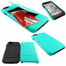 For iphone 6 Plus (5.5) Teal Hybrid Credit ID Card Flip Holder Case Cover+Screen